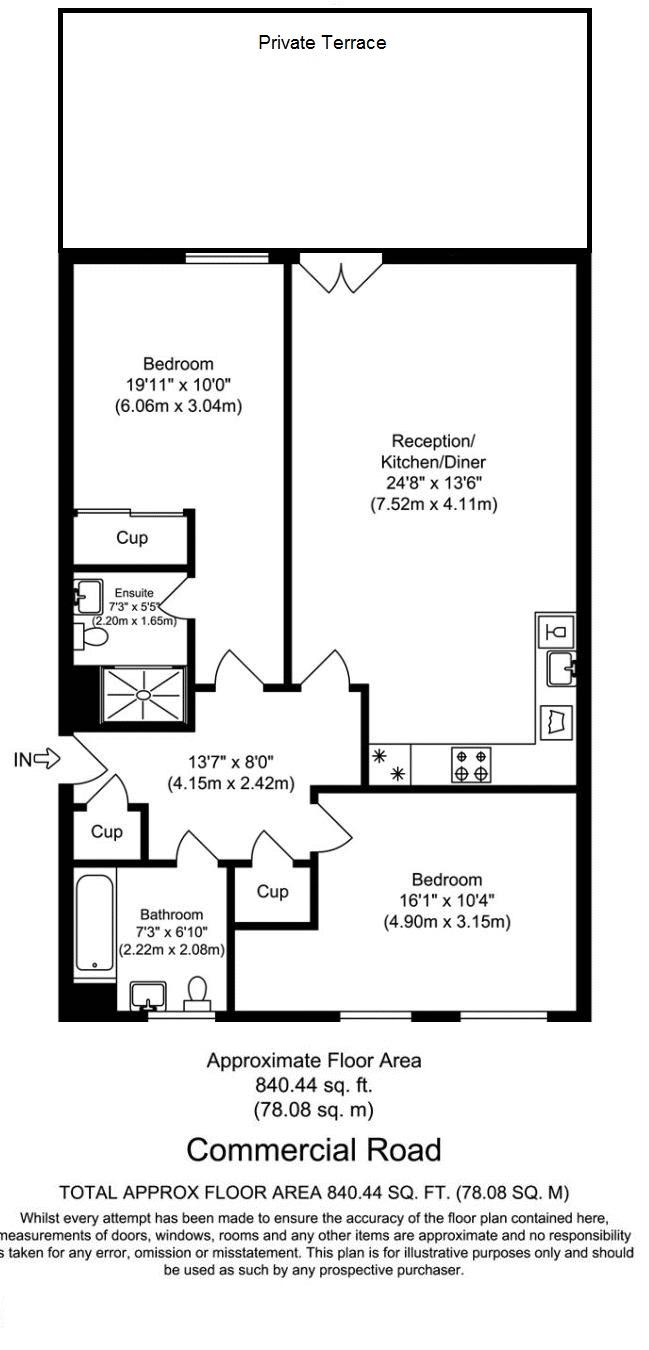 2 bed flat for sale in 600 Commercial Road - Property Floorplan