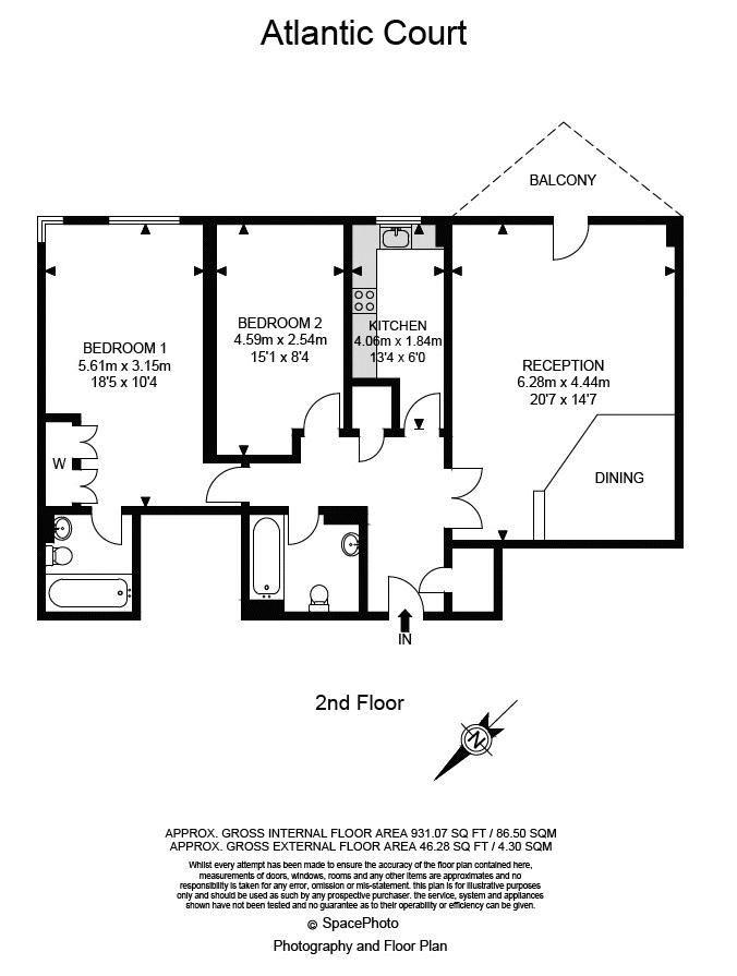2 bed flat for sale in Atlantic Court - Property Floorplan