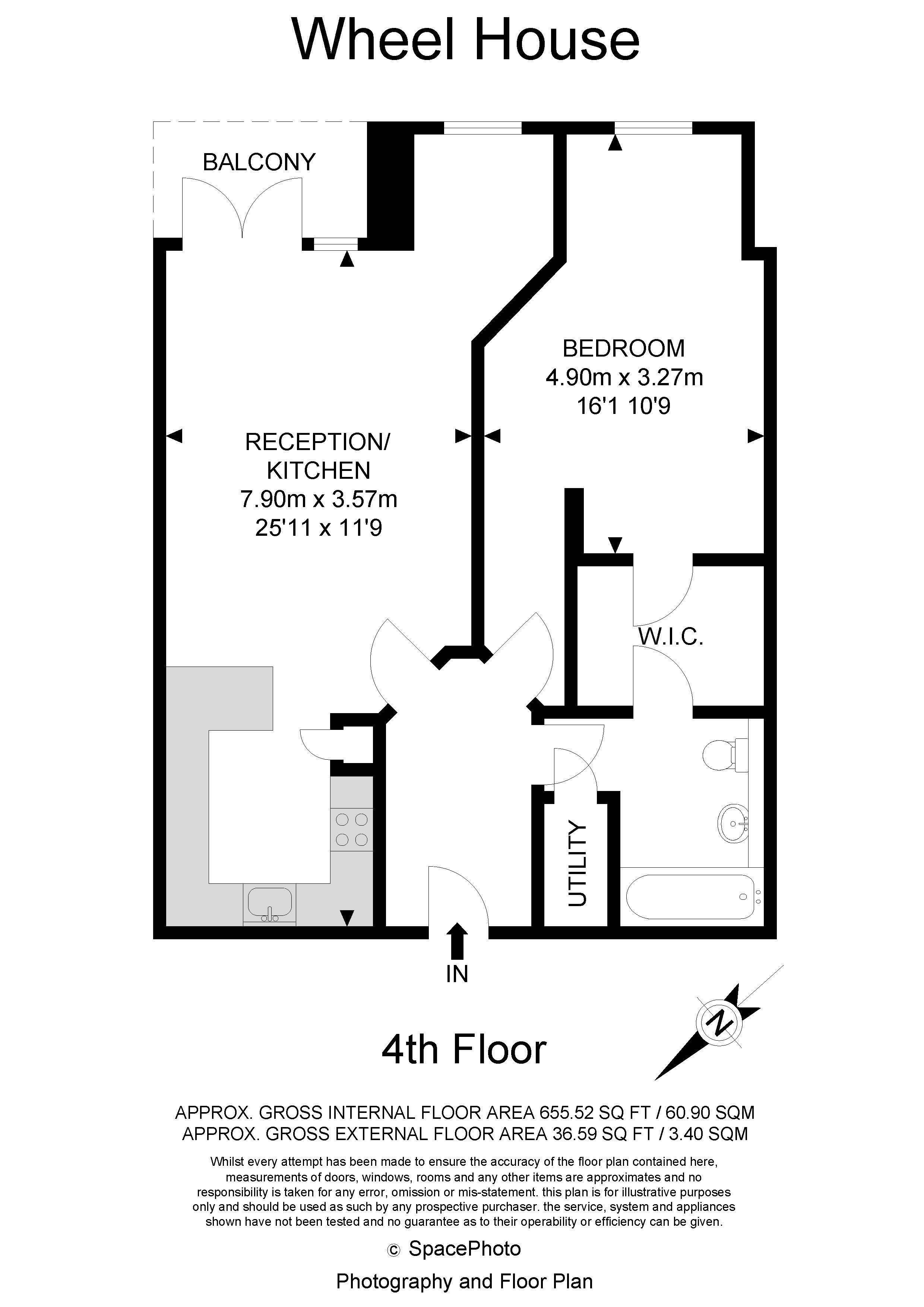 1 bed flat for sale in Wheel House - Property Floorplan