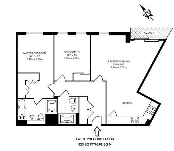 2 bed flat to rent in Altitude point - Property Floorplan