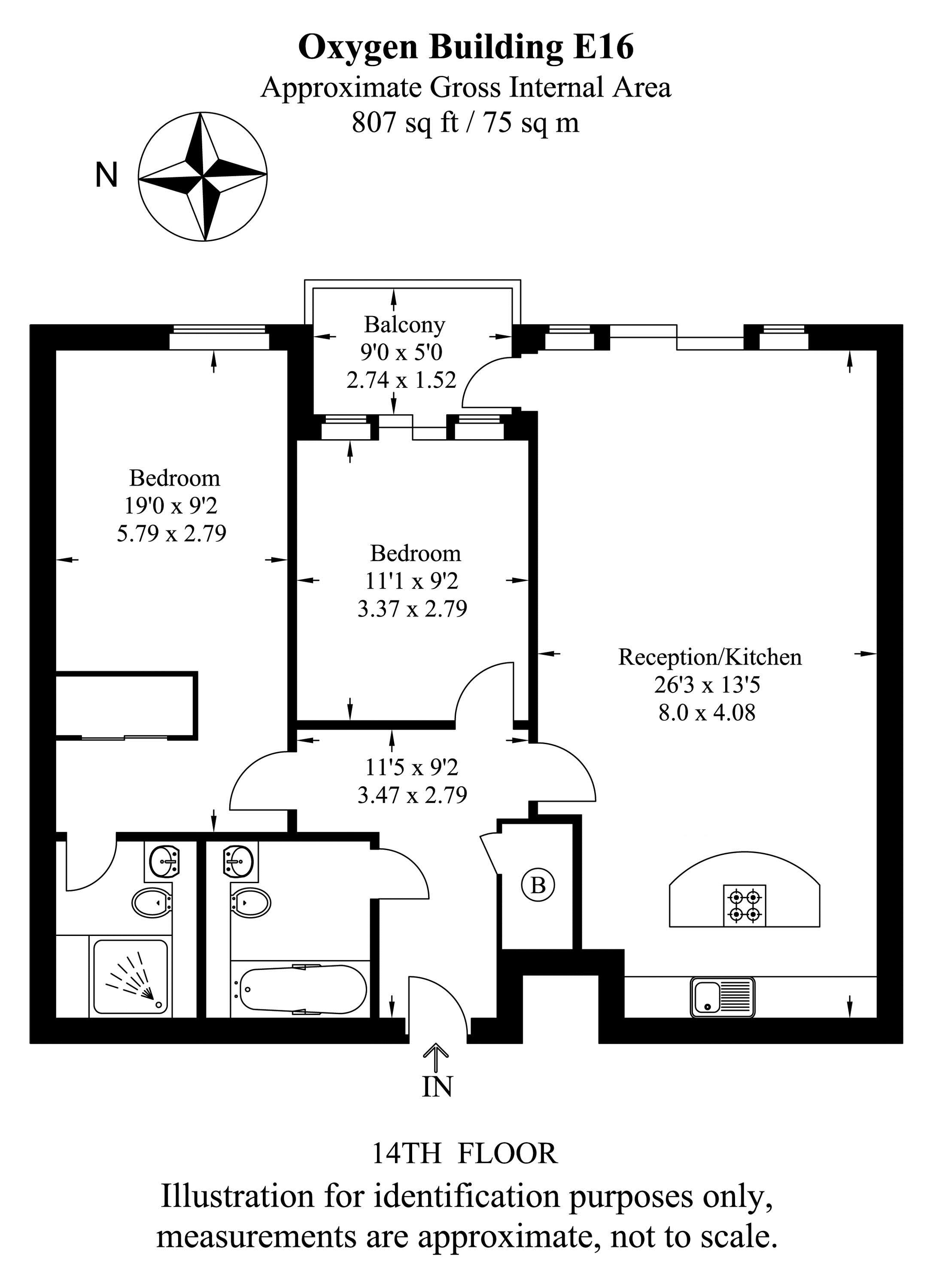 2 bed flat to rent in The Oxygen - Property Floorplan