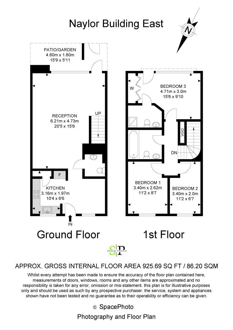 3 bed flat to rent in Naylor Building East - Property Floorplan