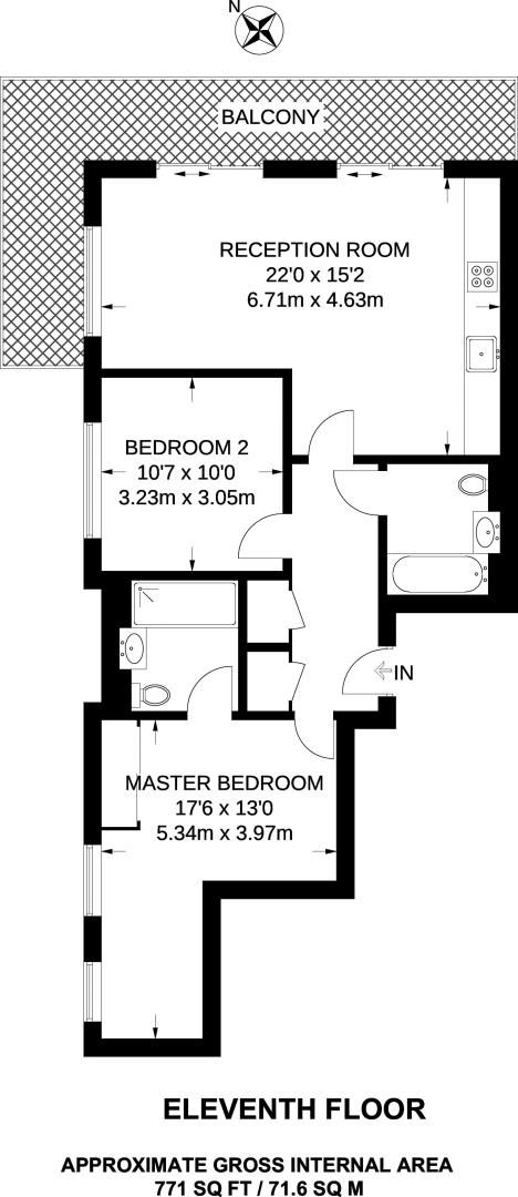 2 bed flat to rent in Kensington Apartments - Property Floorplan
