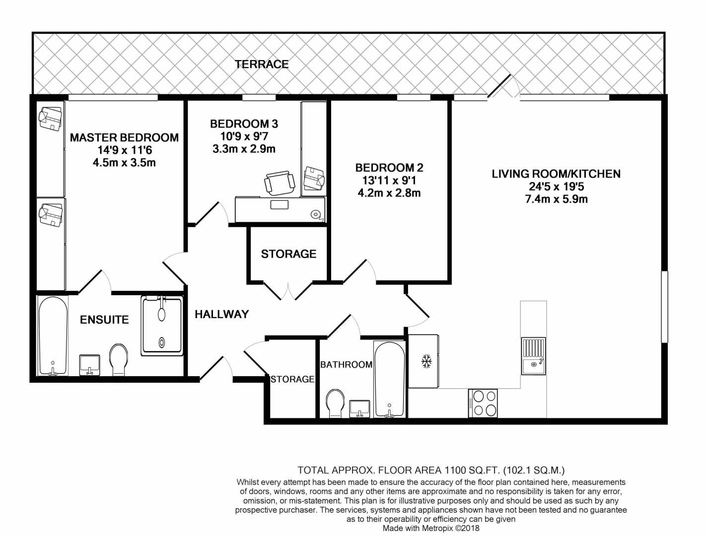 3 bed flat for sale in Pearl Lane - Property Floorplan