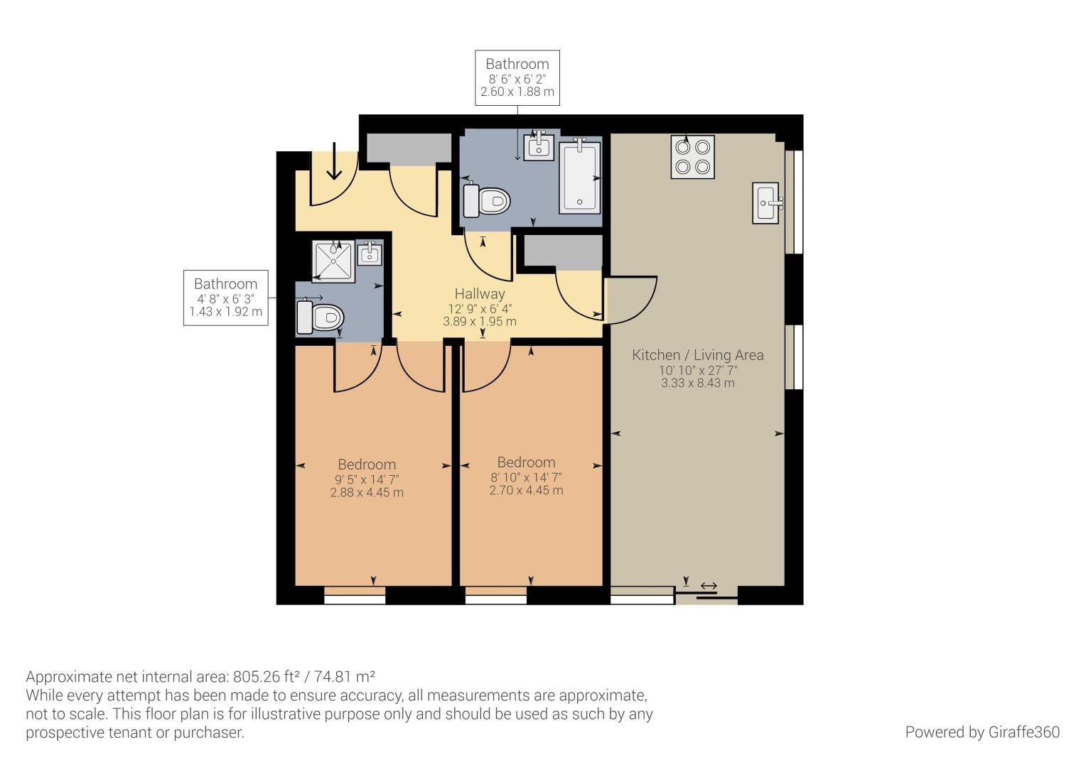 2 bed flat to rent in Starboard Crescent - Property Floorplan