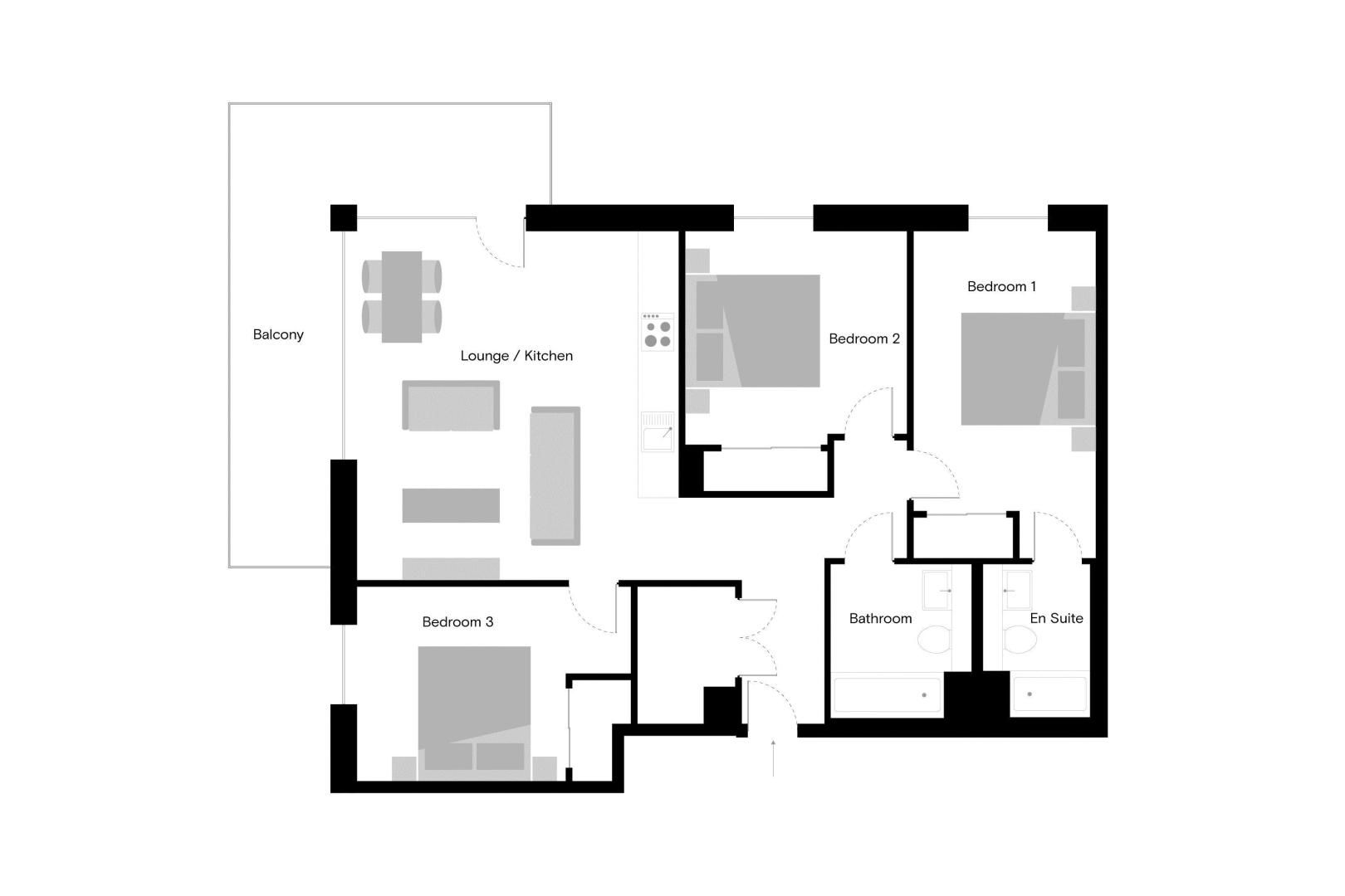 3 bed flat to rent in South Side Three Road - Property Floorplan