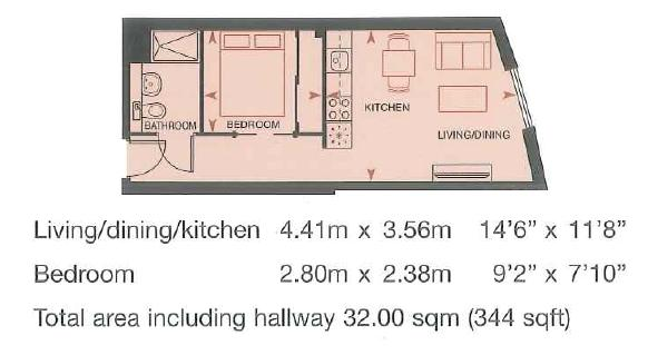 1 bed flat to rent in Dock Head Road - Property Floorplan