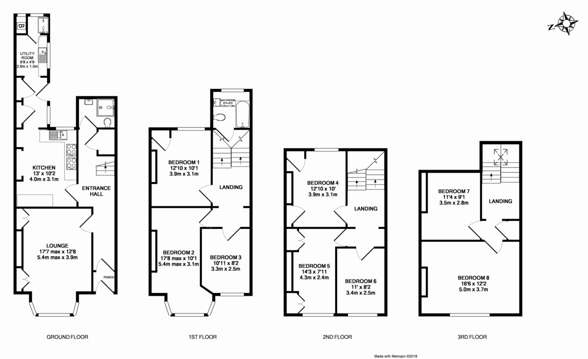 8 bed house for sale in Pennsylvania Road, St James, Exeter - Property Floorplan