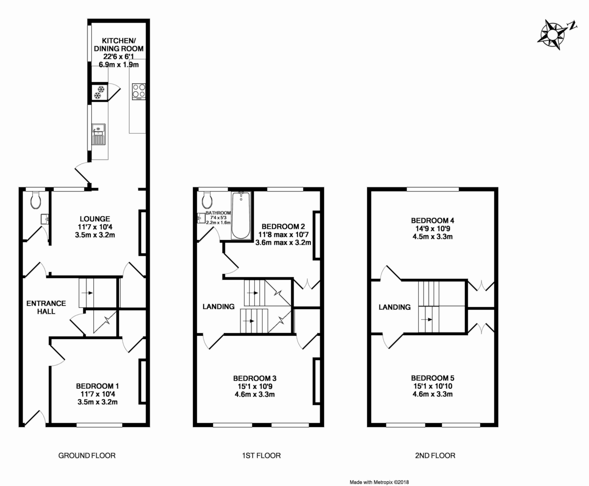5 bed house to rent in Longbrook Street, Exeter - Property Floorplan