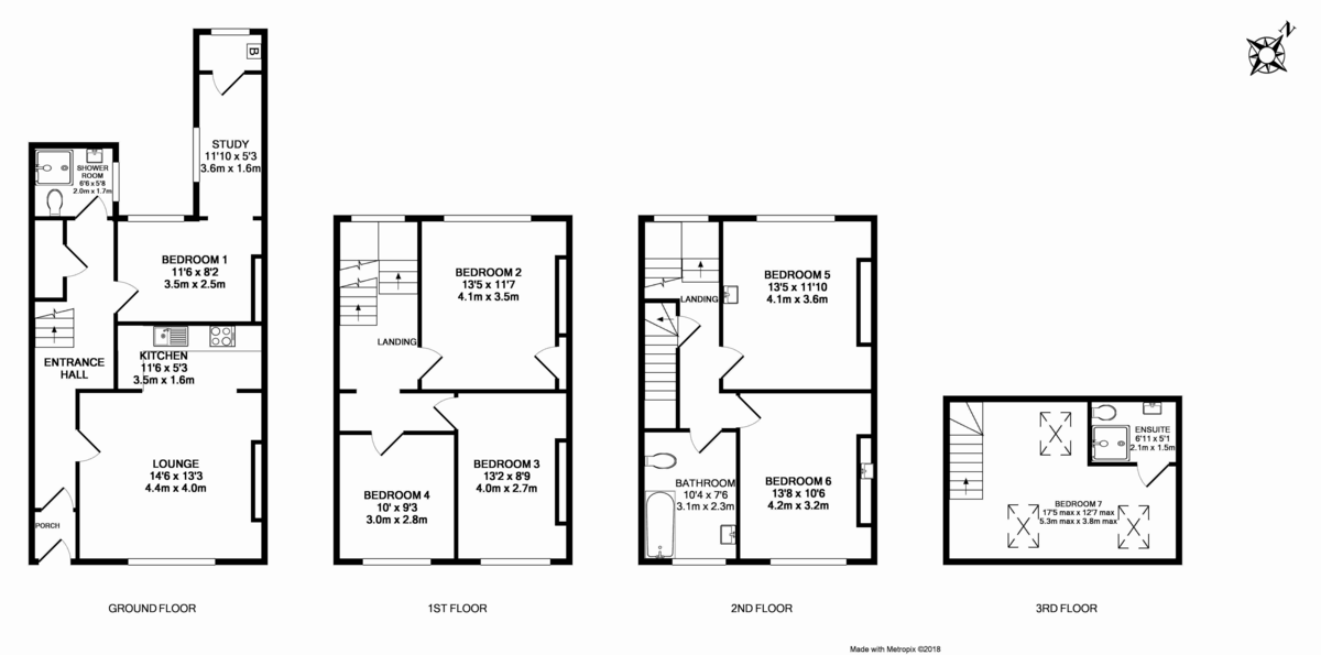 7 bed house to rent in Longbrook Street, Exeter - Property Floorplan