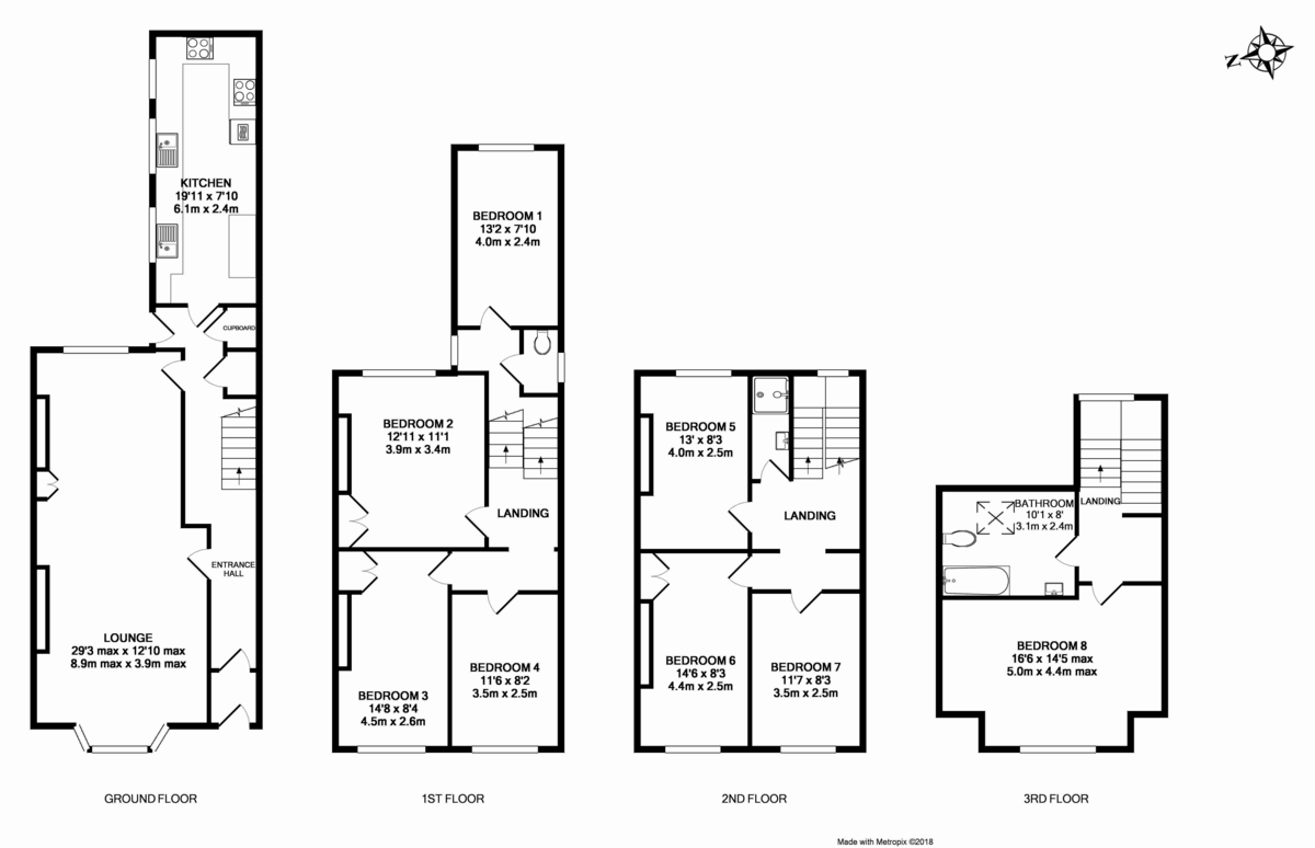 8 bed house to rent in Pennsylvania Road, Exeter - Property Floorplan