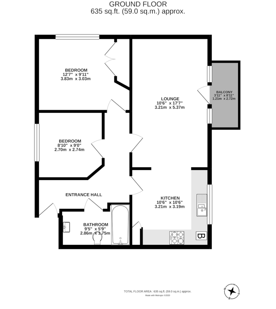 2 bed flat to rent in St James Court, Mount Pleasant - Property Floorplan
