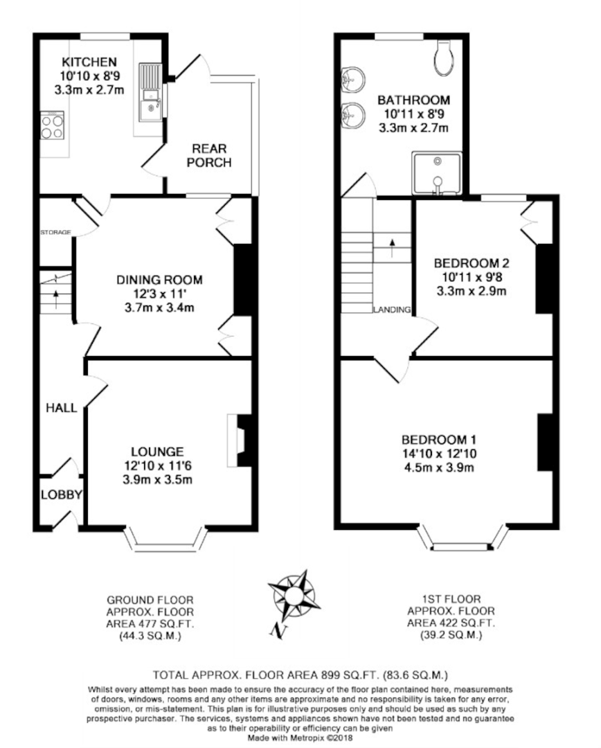 2 bed house to rent in Mansfield Road - Property Floorplan