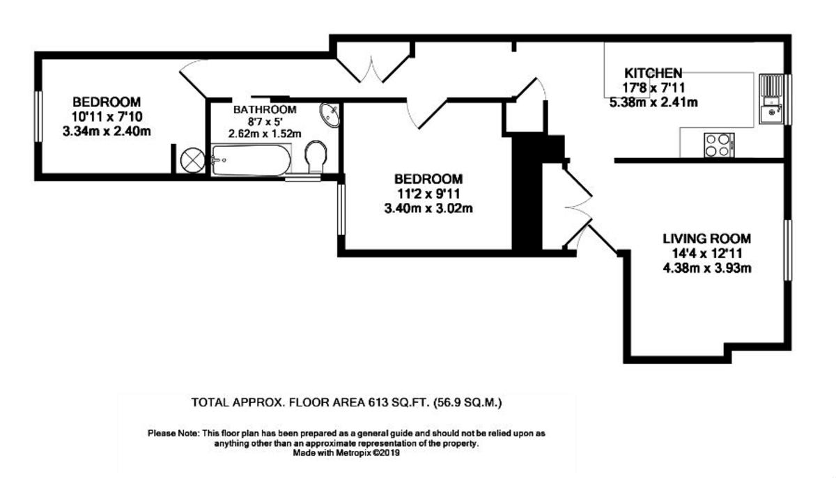 2 bed flat to rent in Longbrook Street - Property Floorplan