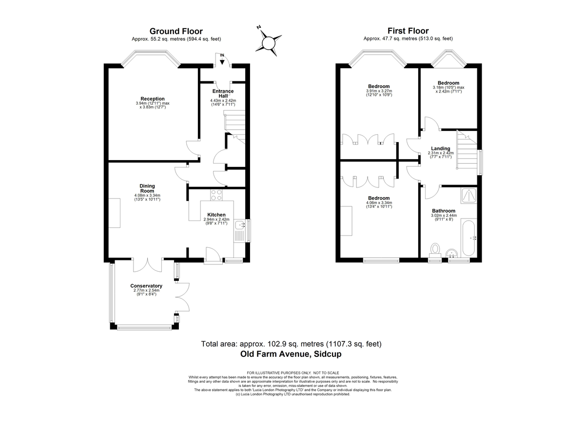 3 bed house for sale in Old Farm Avenue, Sidcup, DA15 - Property Floorplan