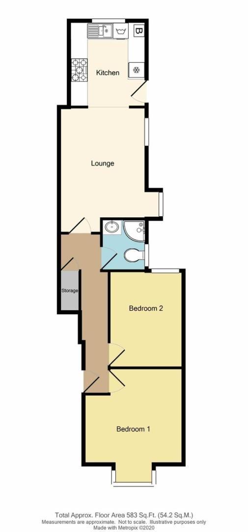 2 bed flat for sale in Blanmerle Road, Eltham, SE9 - Property Floorplan