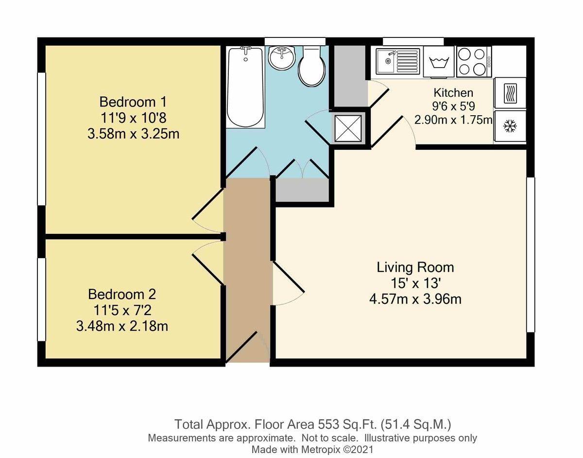 2 bed flat for sale in Granville Road, Sidcup, DA14 - Property Floorplan