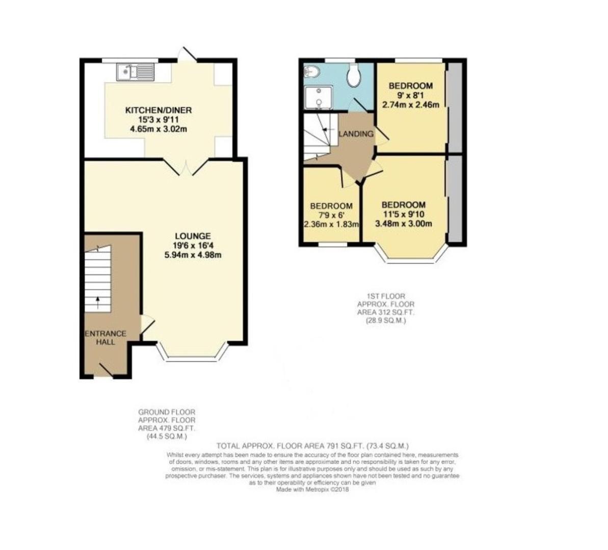 3 bed house for sale in Norfolk Crescent, Sidcup, DA15 - Property Floorplan
