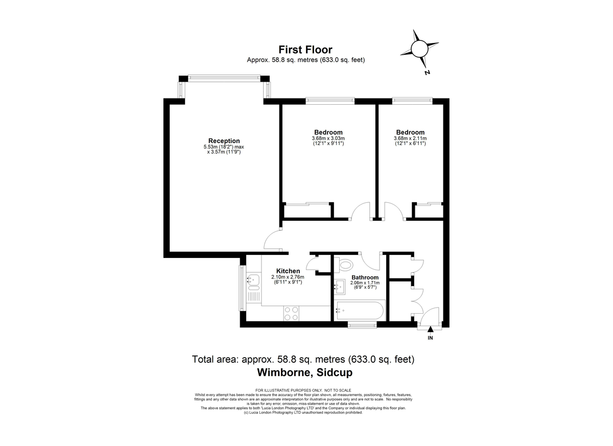 2 bed flat for sale in Highview Road, Sidcup, DA14 - Property Floorplan