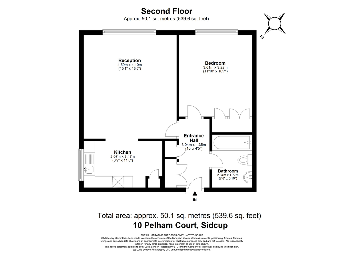 1 bed flat for sale in Hatherley Road, Sidcup, DA14 - Property Floorplan