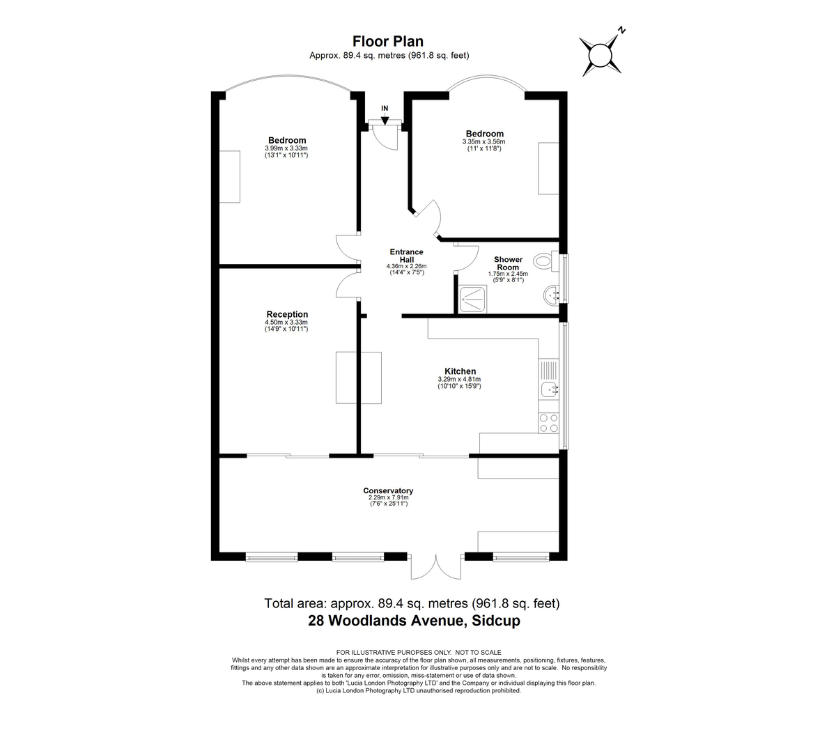 2 bed bungalow for sale in Woodlands Avenue, Sidcup, DA15 - Property Floorplan