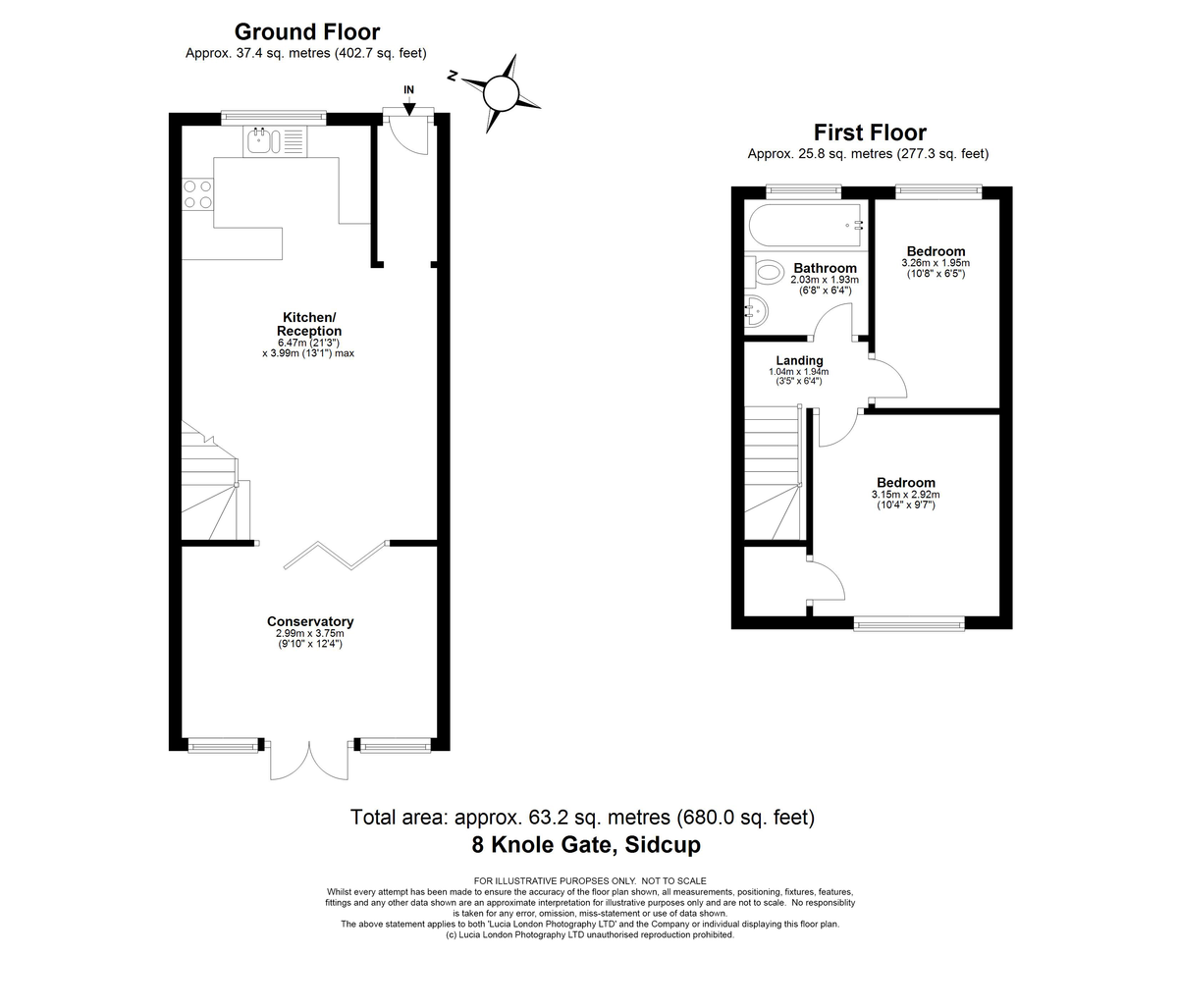 2 bed house for sale in Knole Gate, Sidcup, DA15 - Property Floorplan