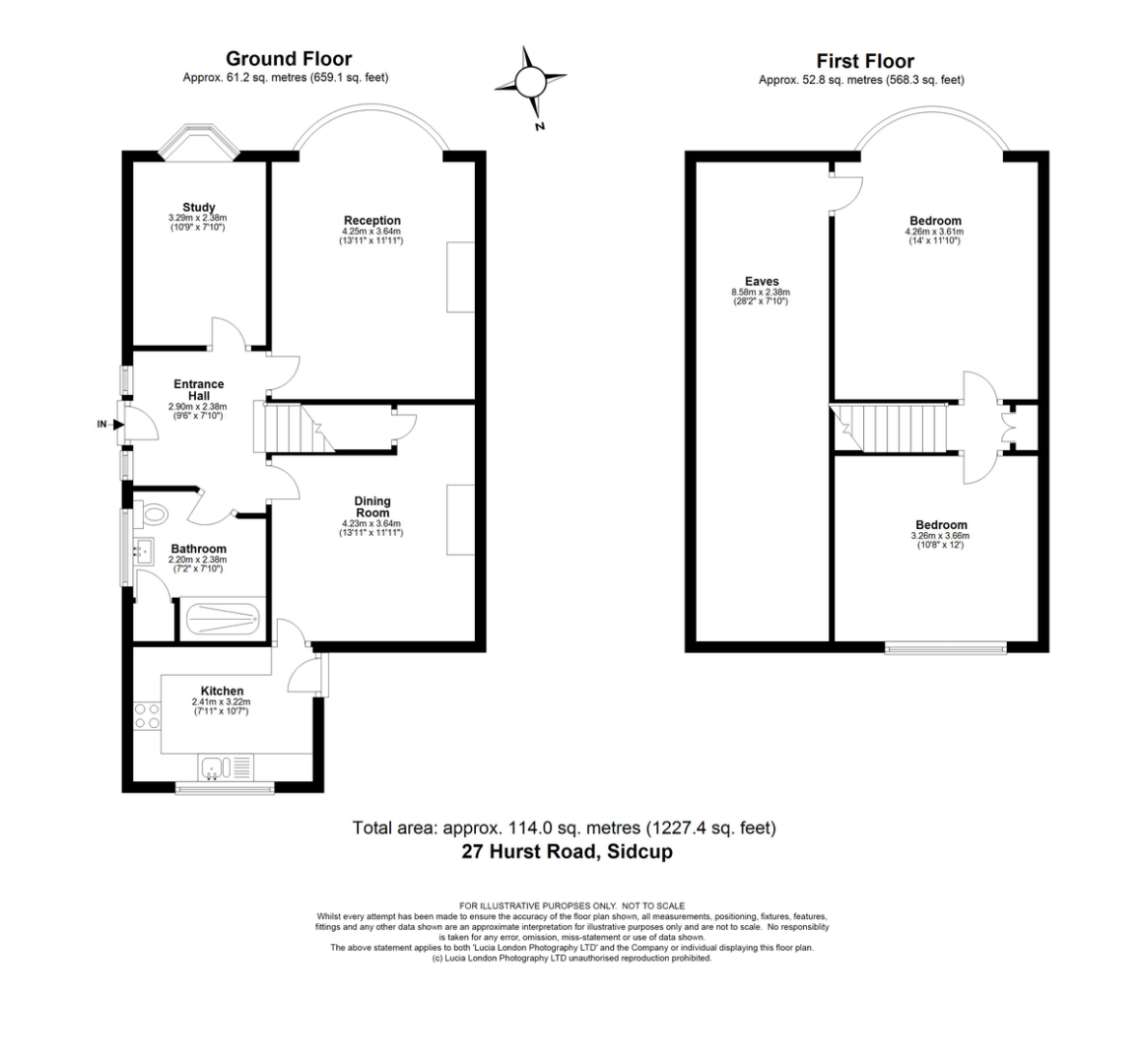 3 bed house for sale in Hurst Road, Sidcup, DA15 - Property Floorplan