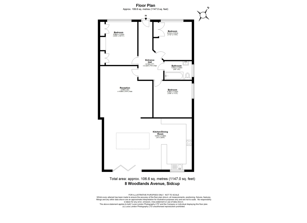 3 bed bungalow for sale in Woodlands Avenue, Sidcup, DA15 - Property Floorplan