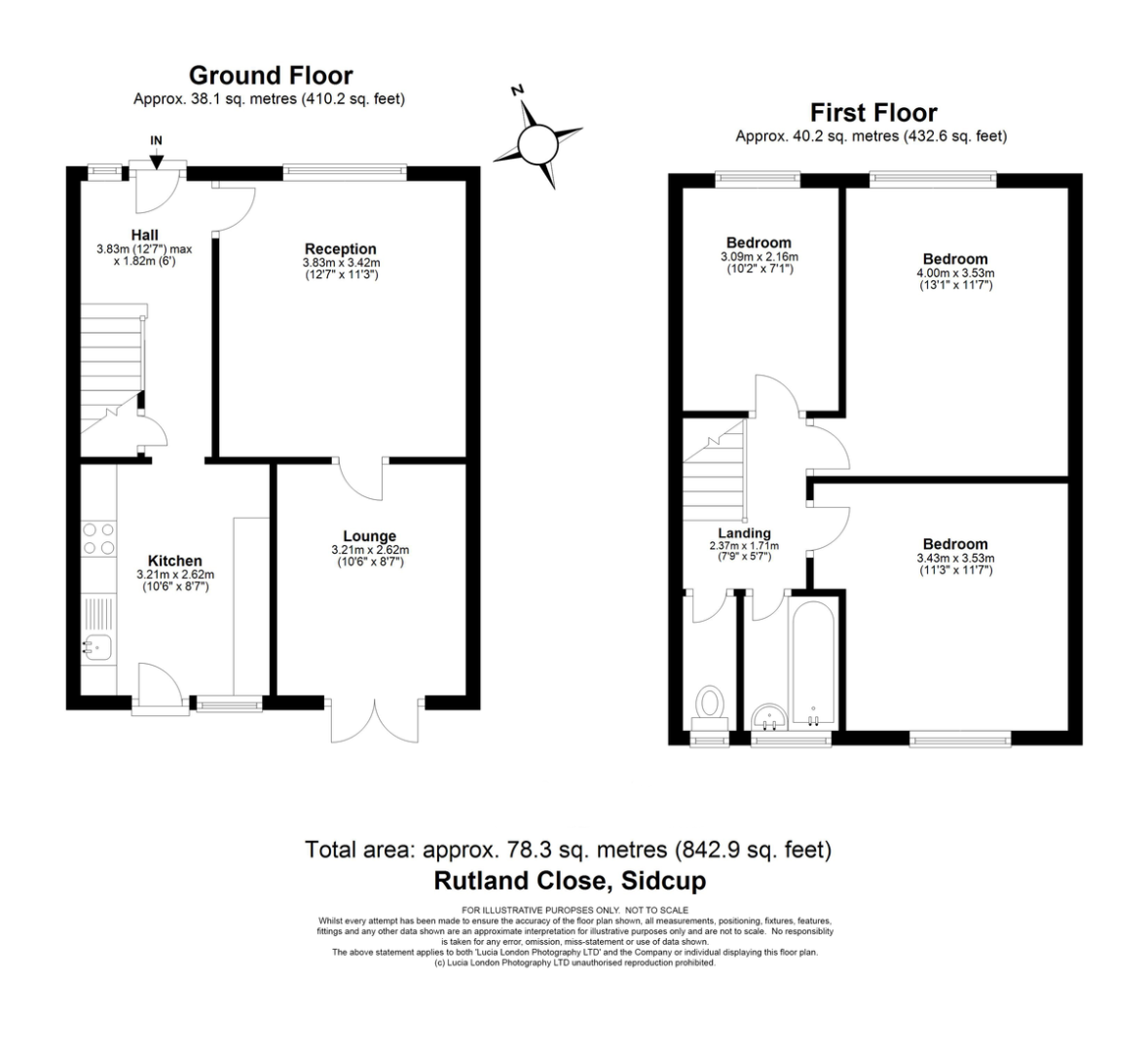 3 bed house for sale in Rutland Close, Bexley, DA5 - Property Floorplan