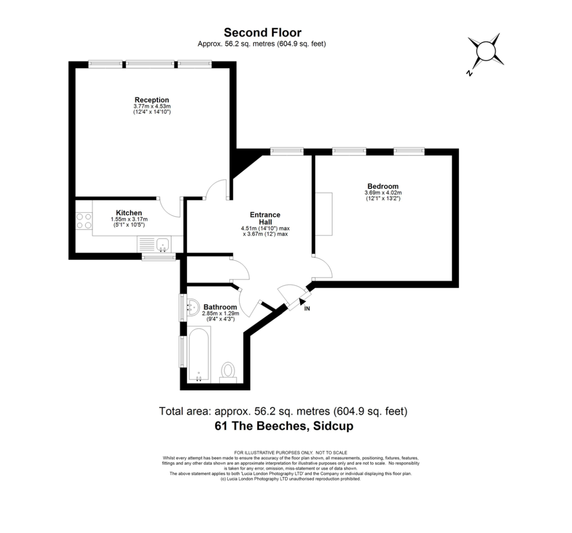 1 bed flat for sale in Acacia Way, Sidcup, DA15 - Property Floorplan