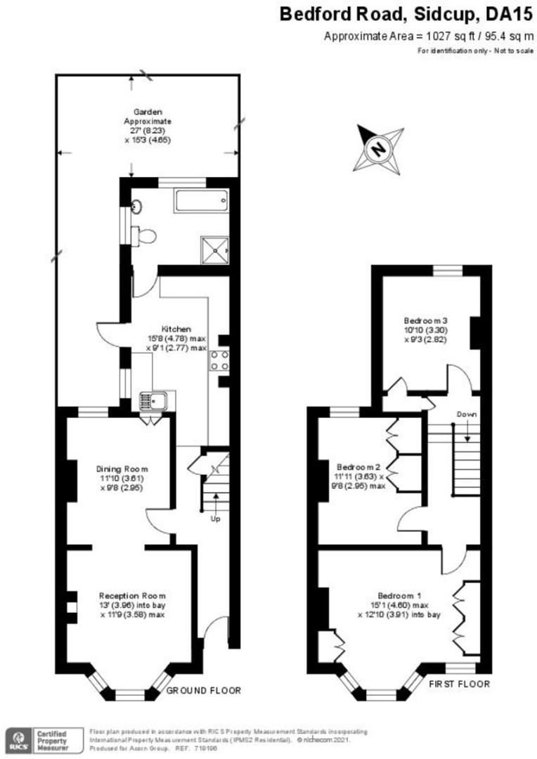3 bed house for sale in Bedford Road, Sidcup, DA15 - Property Floorplan