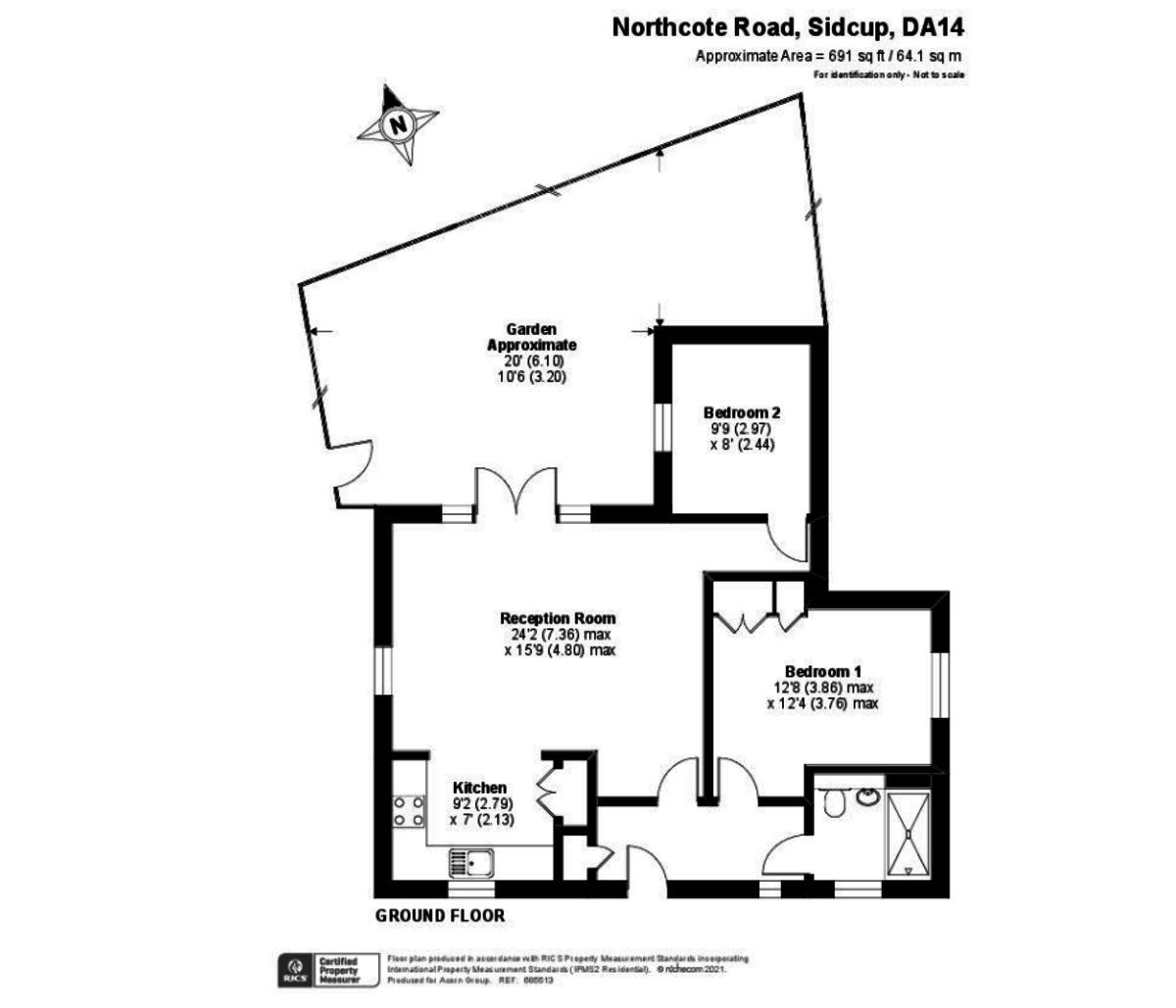 2 bed bungalow for sale in Northcote Road, Sidcup, DA14 - Property Floorplan