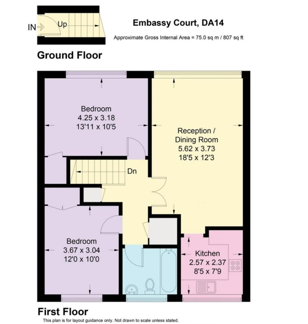 2 bed flat for sale in Lansdown Road, Sidcup, DA14 - Property Floorplan