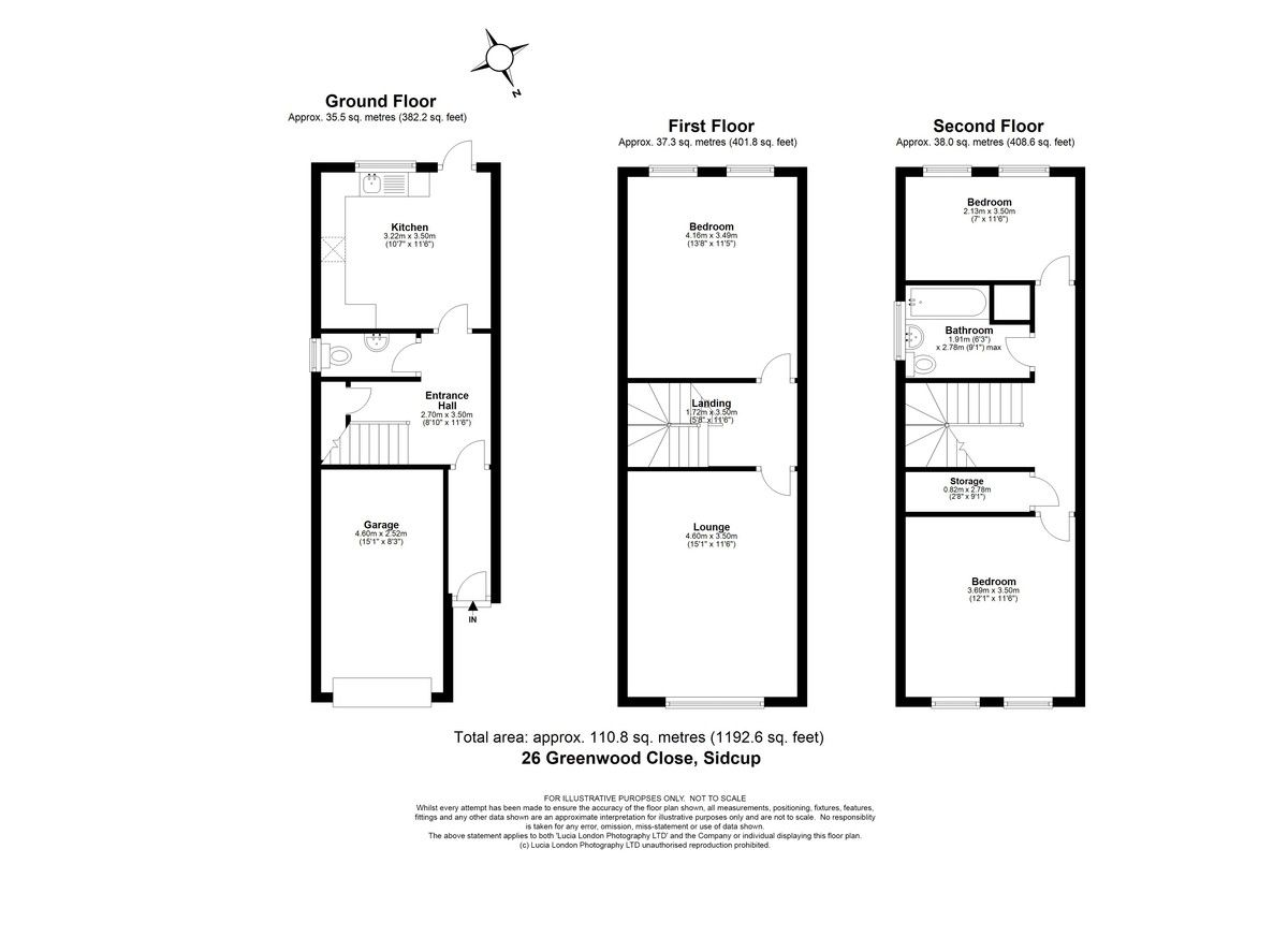 3 bed house for sale in Greenwood Close, Sidcup, DA15 - Property Floorplan