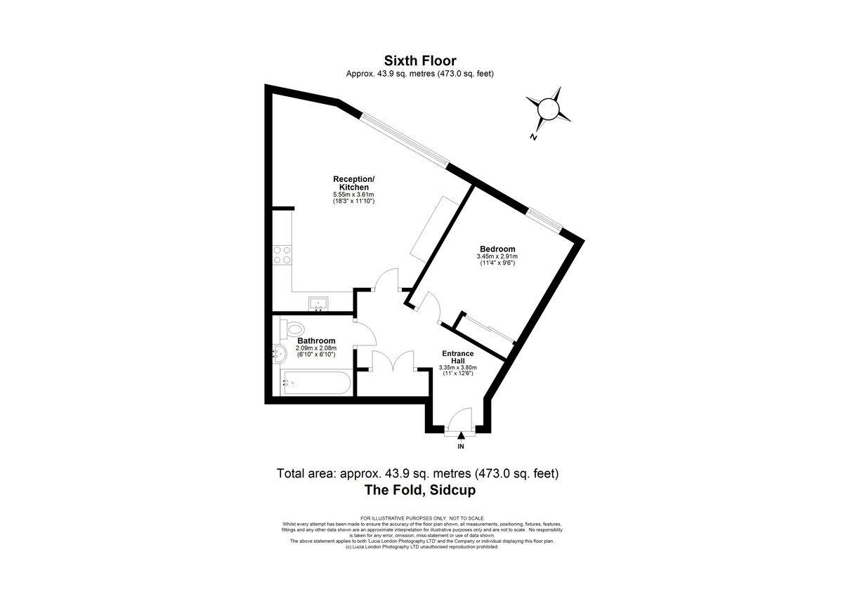 1 bed flat for sale in Station Road, Sidcup, DA15 - Property Floorplan