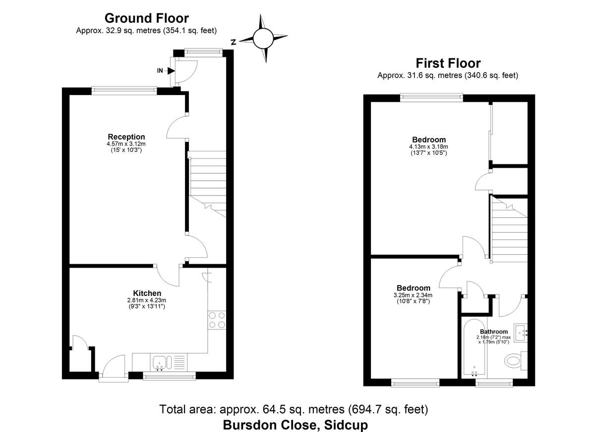 2 bed house for sale in Bursdon Close, Sidcup, DA15 - Property Floorplan