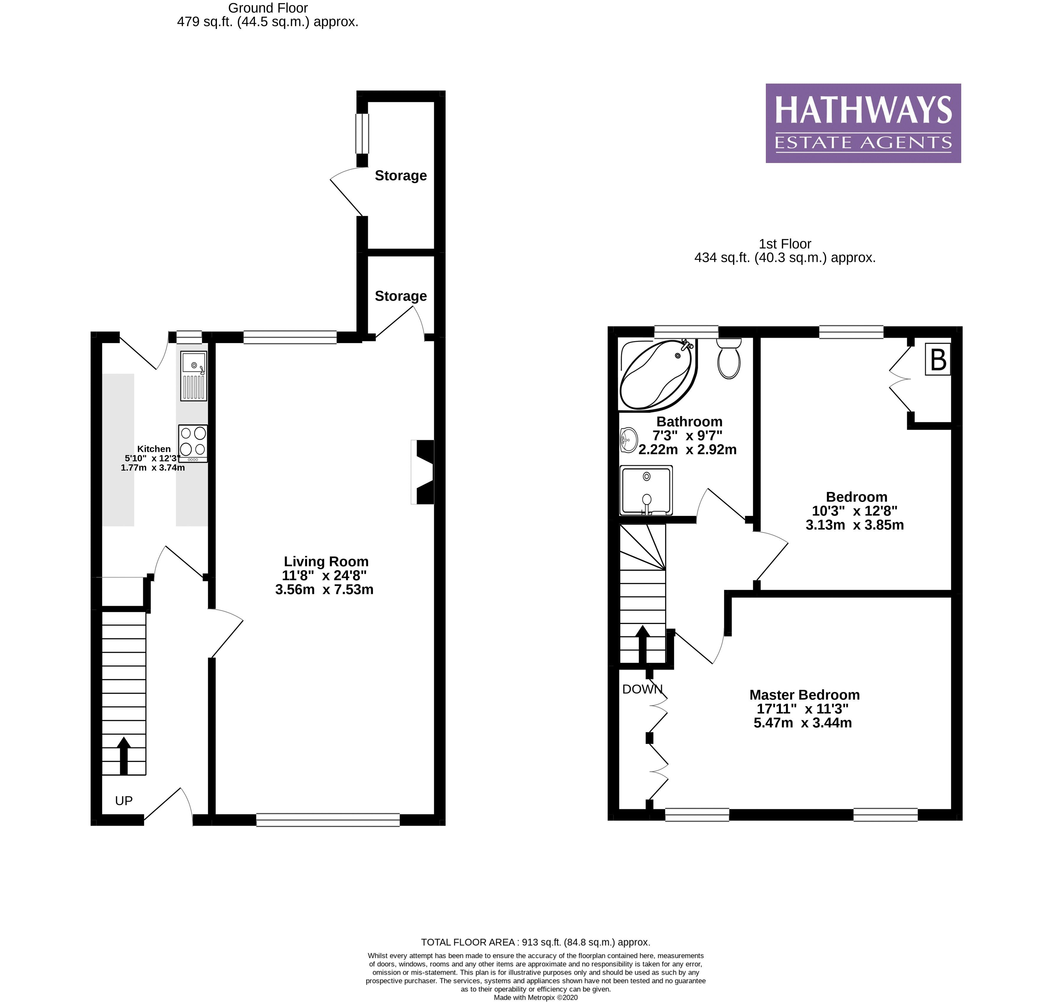 2 bed house for sale in Manor Road - Property Floorplan