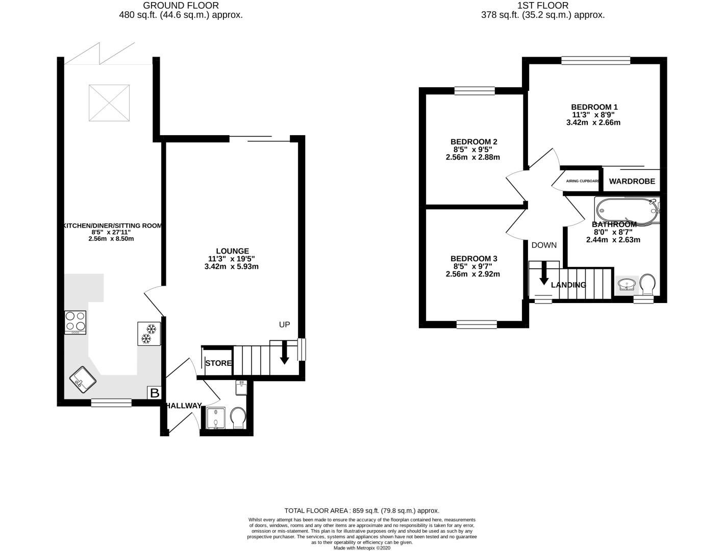 3 bed house for sale in Chandlers Reach - Property Floorplan