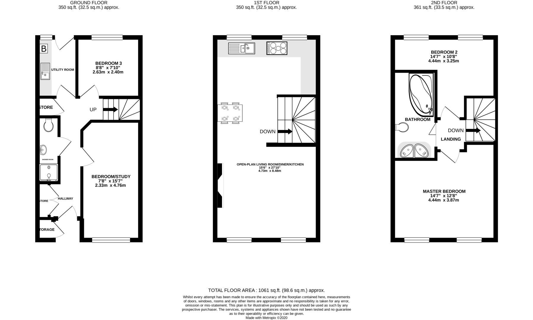 3 bed house for sale in Clos Springfield - Property Floorplan