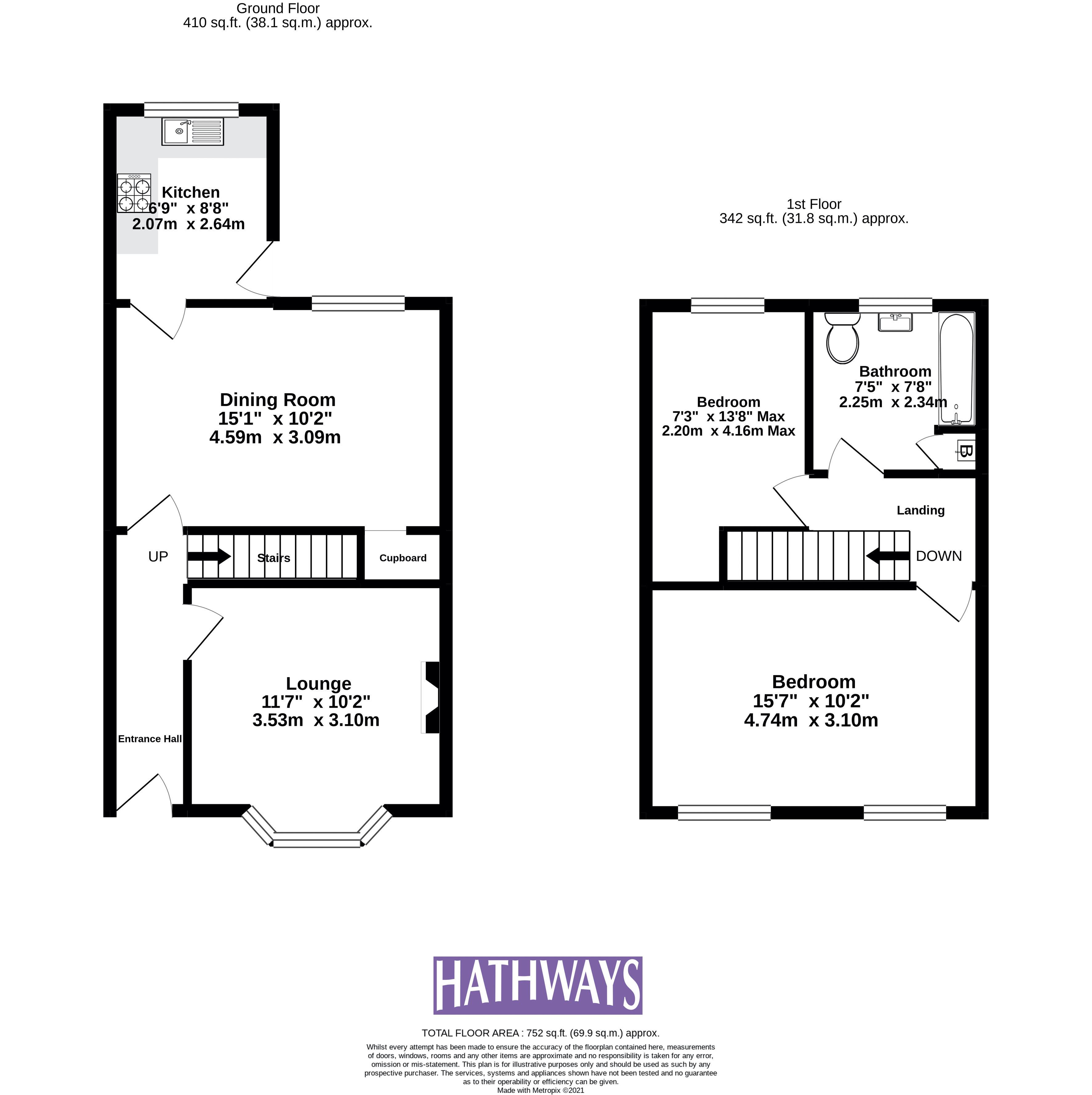 2 bed house for sale in Wainfelin Road - Property Floorplan