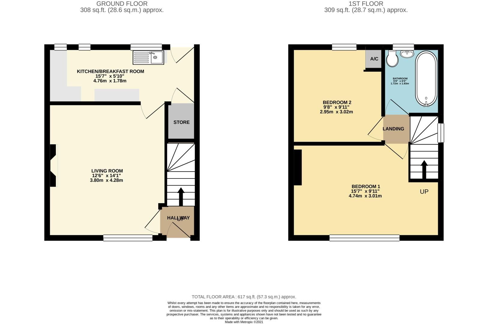 2 bed house for sale in Jackson Road - Property Floorplan