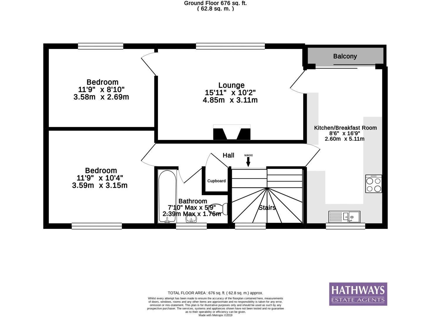2 bed flat for sale in Cardigan Crescent - Property Floorplan