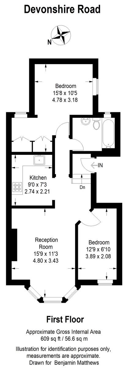 2 bed flat to rent - Property Floorplan