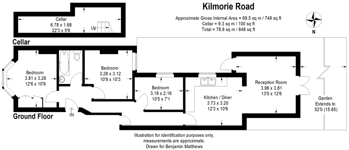 3 bed flat for sale - Property Floorplan