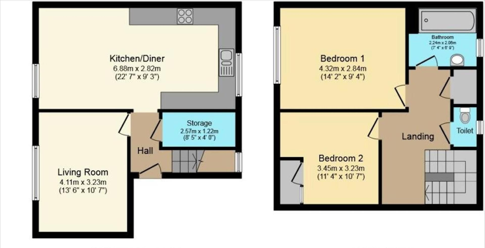 2 bed  to rent in Blackmead - Property Floorplan