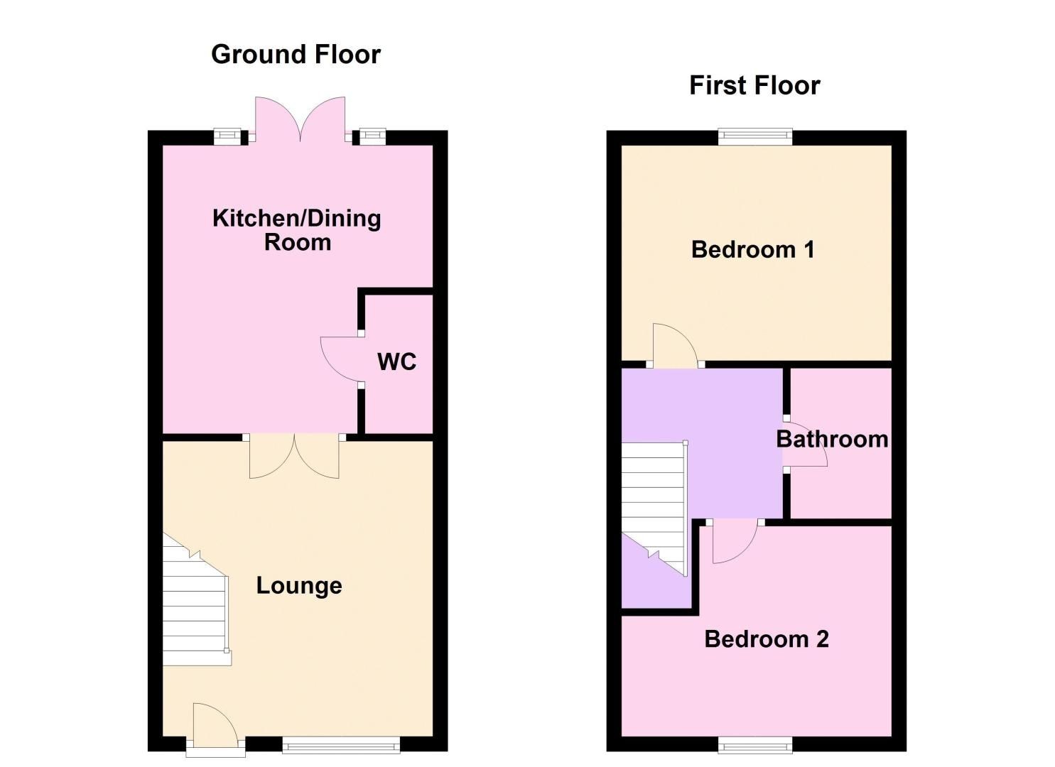 2 bed house for sale in Pomona Way - Property Floorplan