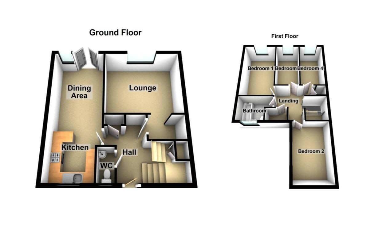 4 bed house to rent in Brewerne - Property Floorplan