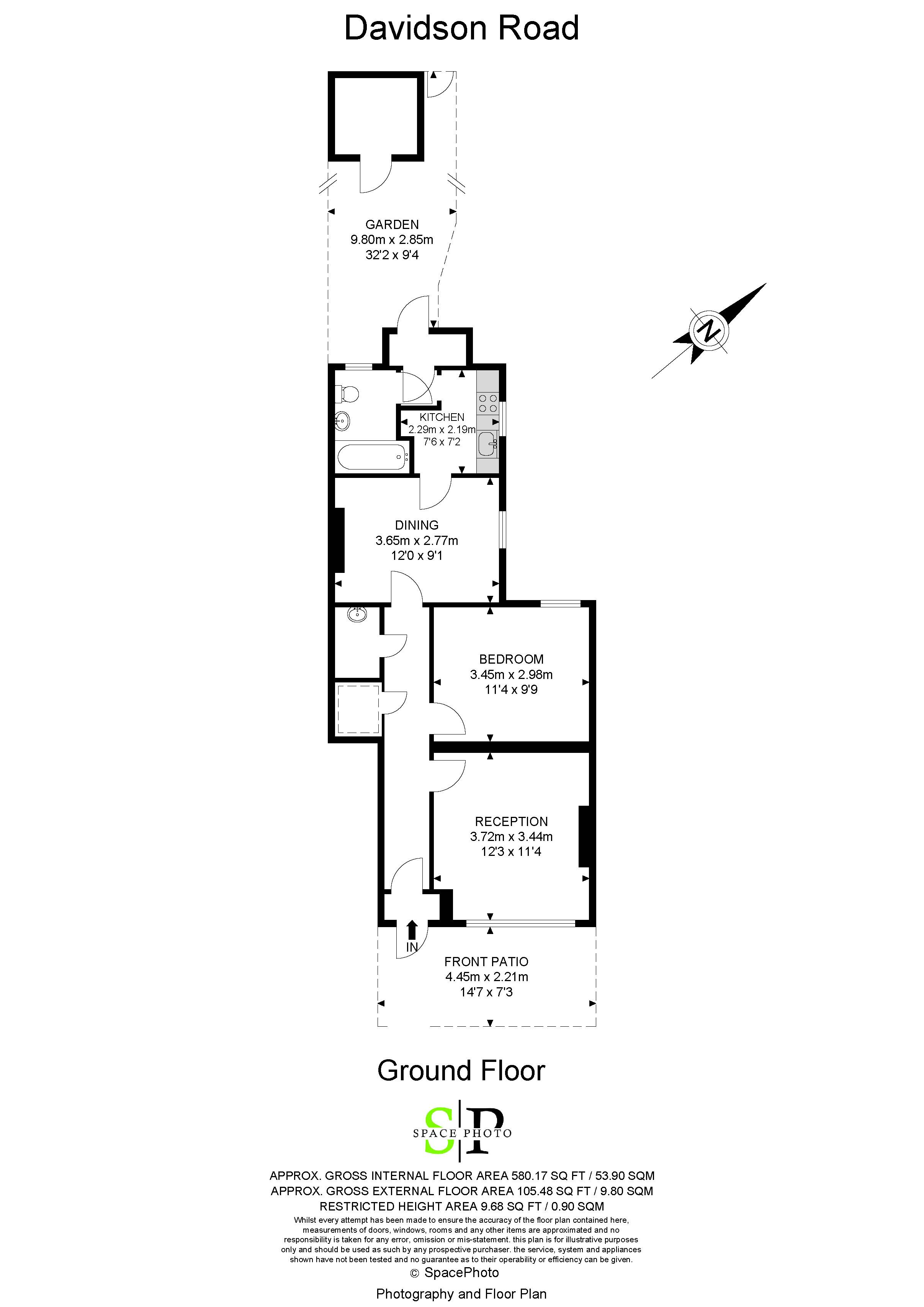 1 bed flat to rent in Davidson Road - Property Floorplan