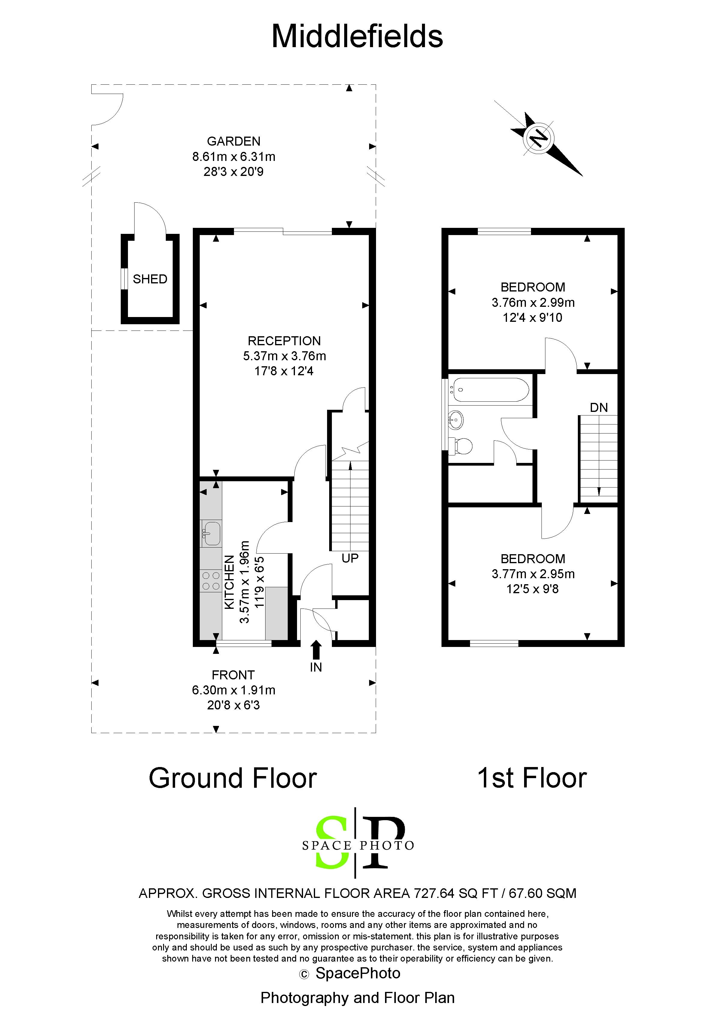 2 bed house for sale in Middlefields - Property Floorplan