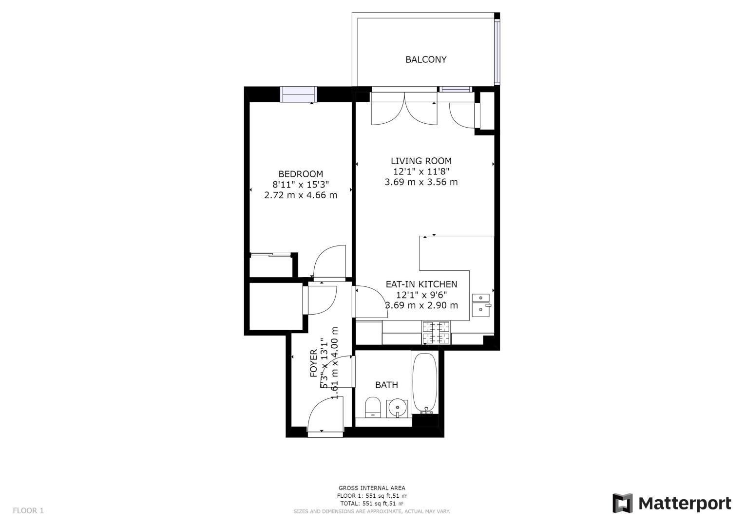 1 bed flat for sale in Nihill Place - Property Floorplan